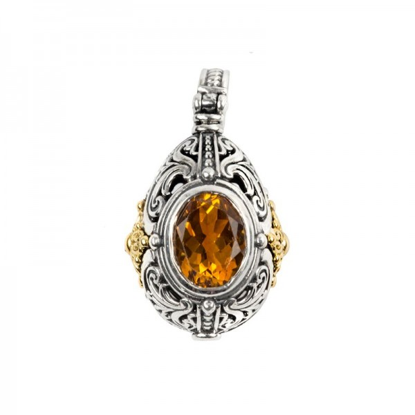 Women's Sterling Silver and 18K Gold  Pendant with Citrine