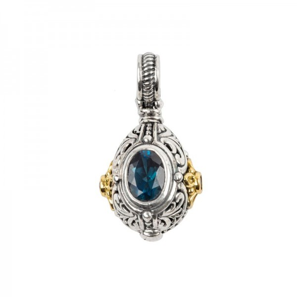 Women's Sterling and 18KY London Blue Topaz Pendant