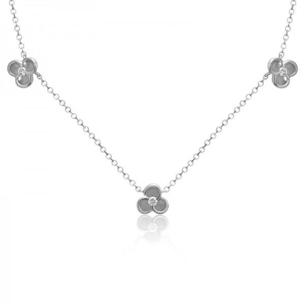 14K White Gold Bloom Station Diamond Necklace