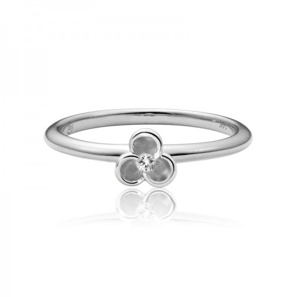 14K White Gold Diamond Bloom Stacking Ring