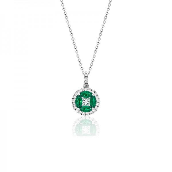 Luvente Emerald and Diamond Pendant