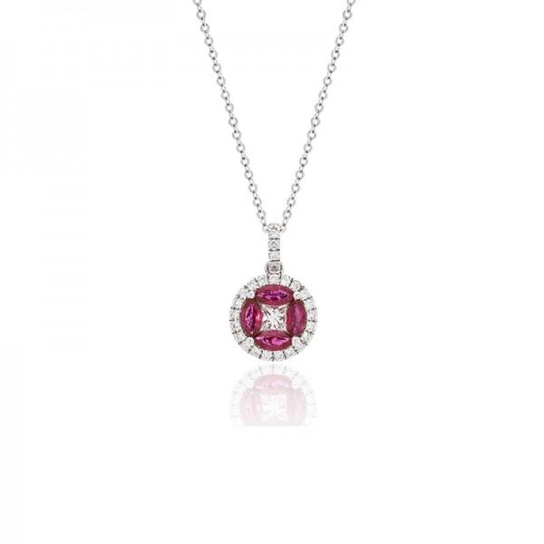 Luvente Ruby and Diamond Pendant