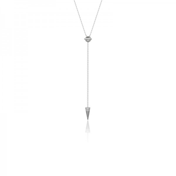 Luvente Diamond Ball and Cone Lariat Necklace