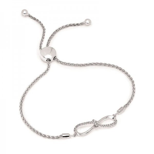 SS Diamond Infinity Bolo Bracelet