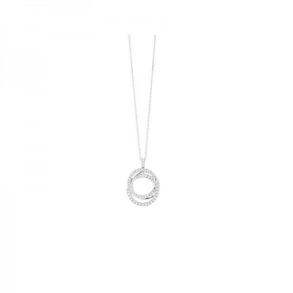 14KW Circle Diamond Pendant