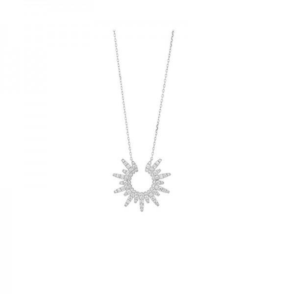 14KW Sunburst Diamond Pendant