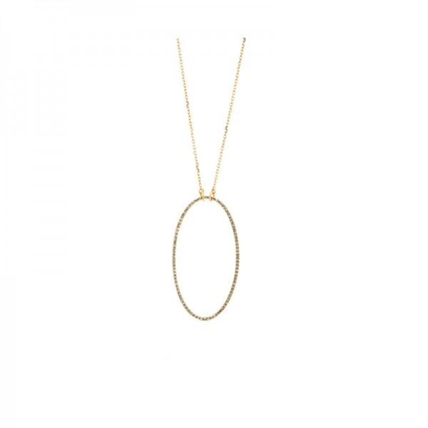 14KY Oval Diamond Pendant