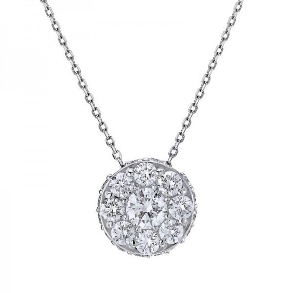18KW .85ctw Diamond Illusion Pendant