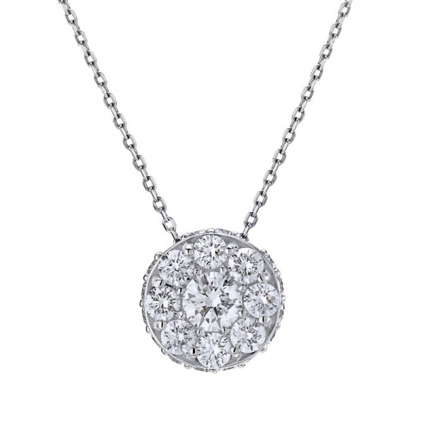 18KW 1.31ctw Diamond Illusion Necklace - Adjustable