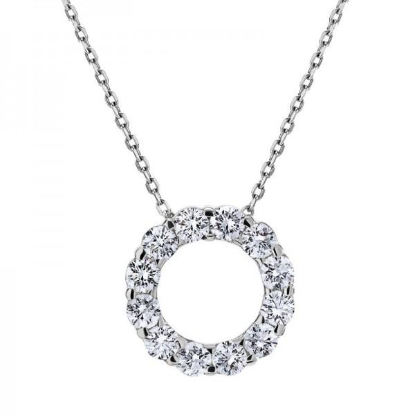 18KW 1.00ctw Diamond Circle Pendant
