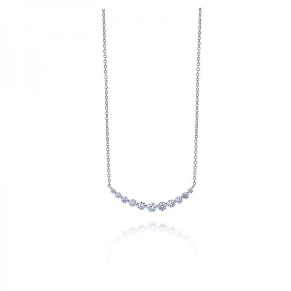 18KW .85ctw Diamond Bar Necklace