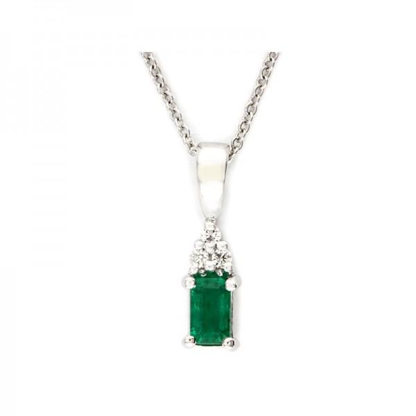 14K White Gold Diamond & Natural Emerald Pendant. Round Diamonds 0.04 TCW & Emerald 0.27 TCW