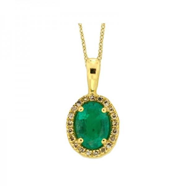 14K Yellow Gold Diamond & Natural Emerald Pendant. Round Diamonds 0.08 TCW & Oval Emerald 0.76 TCW