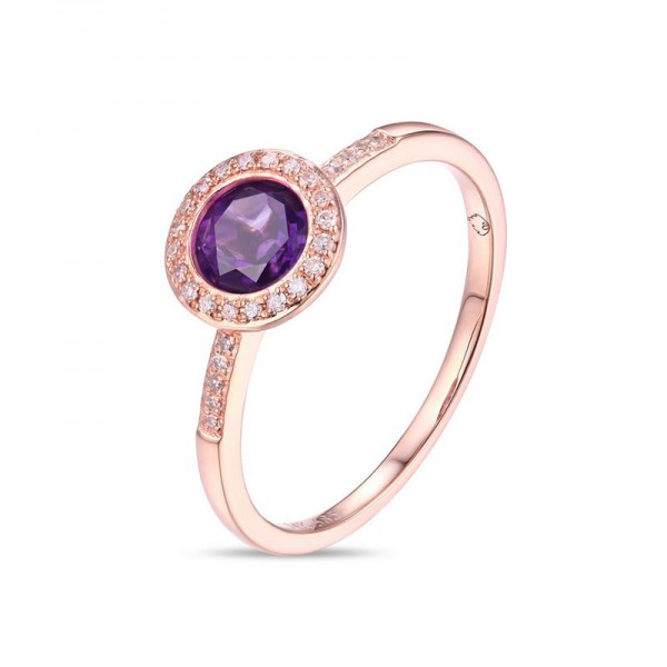 Luvente Amethyst and Diamond Ring
