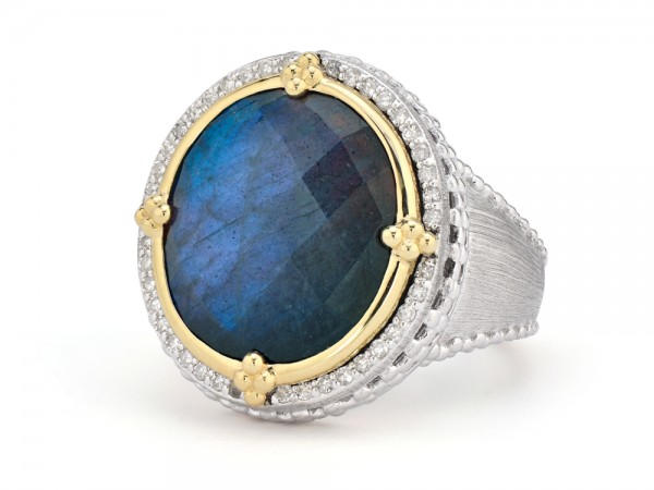 JudeFrances SS/18KY Mixed Metal Oval Stone Pave Halo Beaded Ring