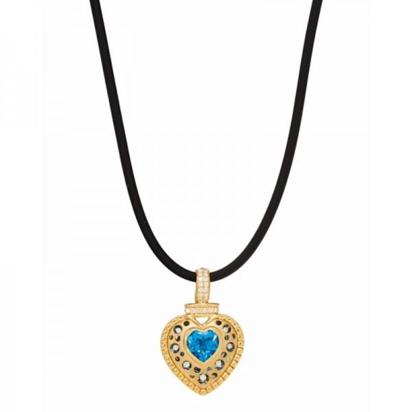 Mirror Collection Clip Top Blue Topaz Heart Pendant