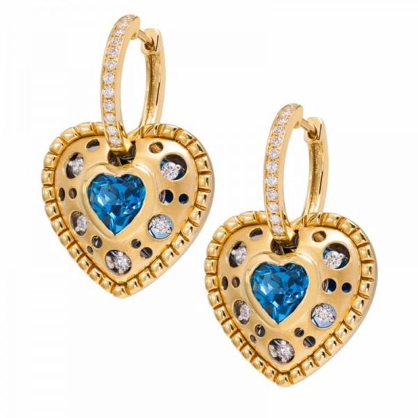 Mirror Collection Blue Topaz Heart Drop Earrings