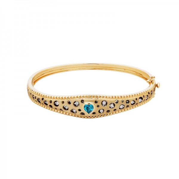 Mirror Collection Blue Topaz Heart Bangle