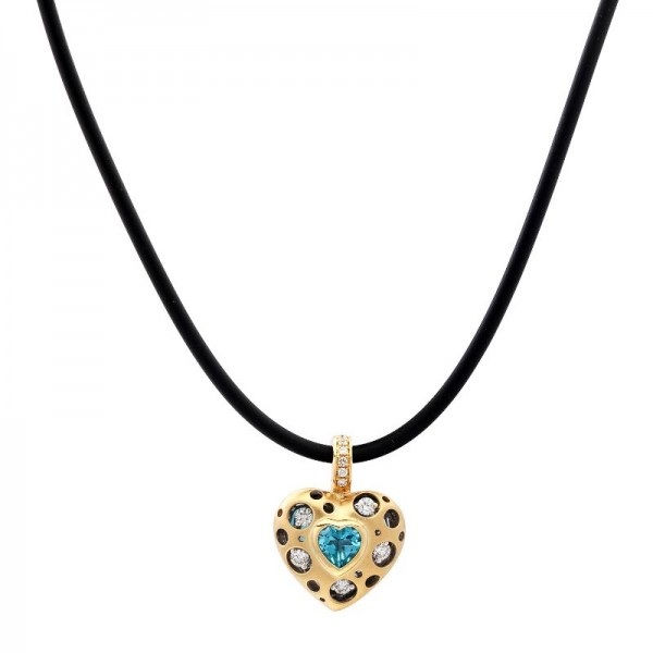 Mirror Collection Blue Topaz Heart Pendant