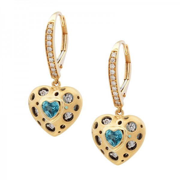 Mirror Collection Blue Topaz Heart Earrings