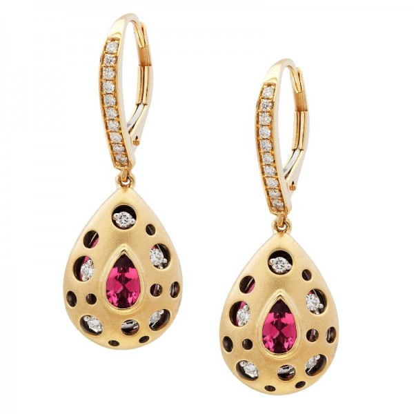 Mirror Collection Pink Tourmaline Drop Earrings