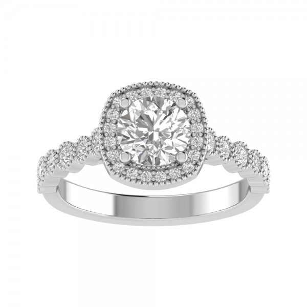 True Romance 14KY Halo Engagement Ring