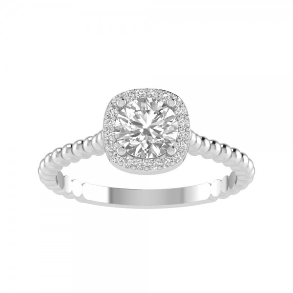 True Romance 14KW Halo Engagement Ring
