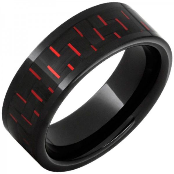 Black Ceramic Pipe Cut Black & Red Carbon Fiber Inlay Band