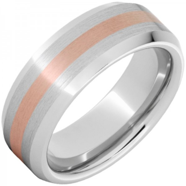 Serinium® Rose Gold Inlay Beveled Edge Band