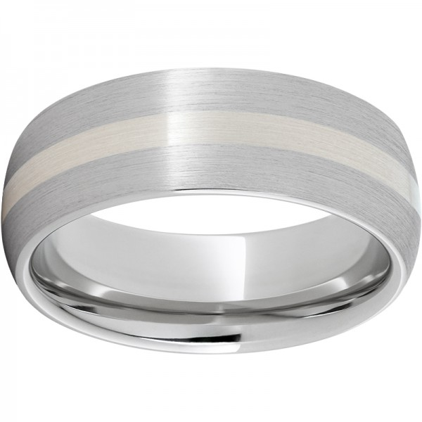 Serinium® Domed Silver Inlay Satin Band