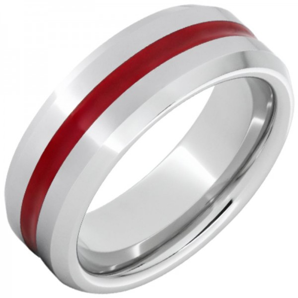 Serinium® Red Enamel Inlay Beveled Edge Band