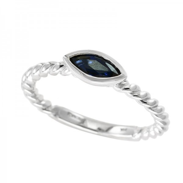 14K White Gold Natural Sapphire Ring. Sapphire 0.52 TCW
