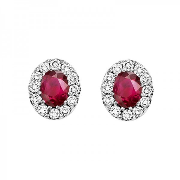 14kw ruby and diamond earring