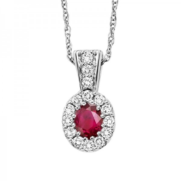 14kw ruby and diamond pendant