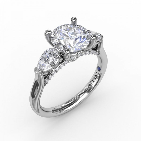 Classic Three-Stone Engagement Ring With Pear-Shape Side Diamonds
