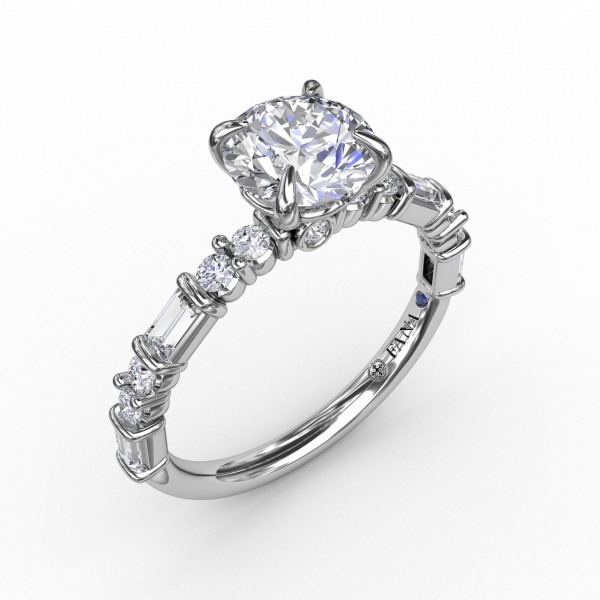 Contemporary Diamond Solitaire Engagement Ring With Baguettes and Round Diamond Accents