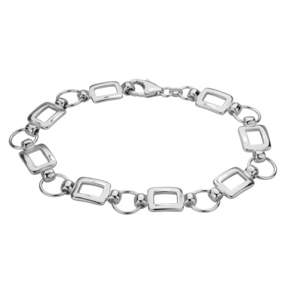 Silver Bracelet With Circular & Rectangular Links