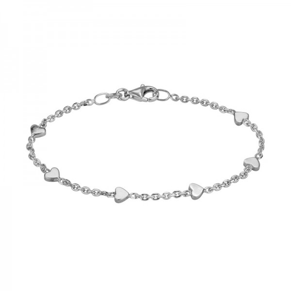 Silver Cable Bracelet With Hearts