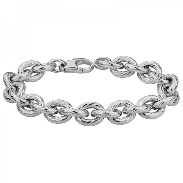 Sterling Silver Ridged Oval Bracelet