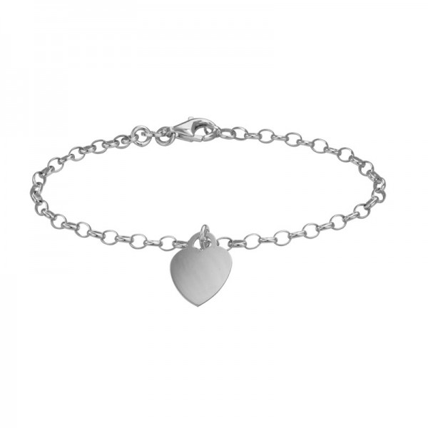 Silver Cable Bracelet With Engravable Heart