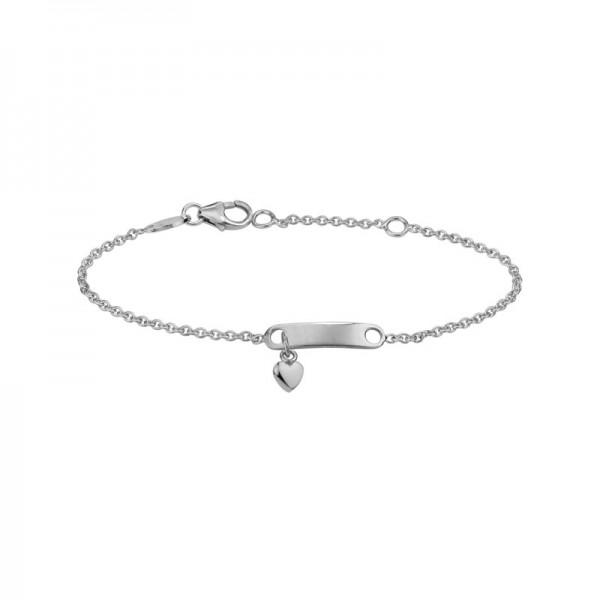 Silver Childs ID Heart Bracelet