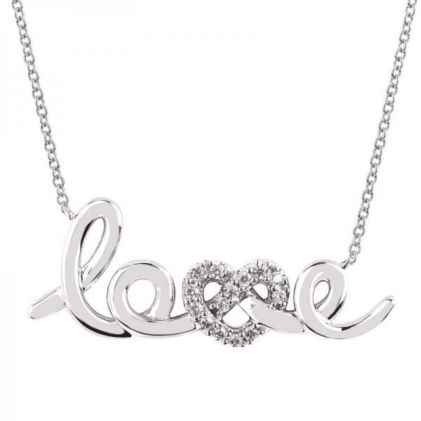 SS Love Lock™ Diamond Love Knot Necklace