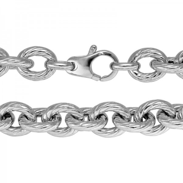 Sterling Silver Ridged Oval Chain 18