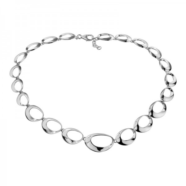 Silver Oval Link Necklace 18