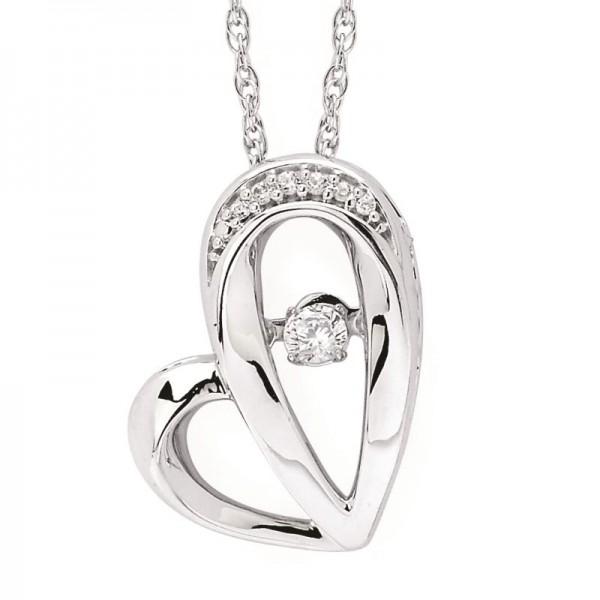 SS Shimmering Diamonds® Sideways Heart Pendant