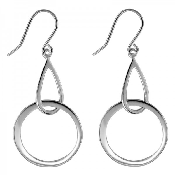 Silver Teardrop & Circle Earrings
