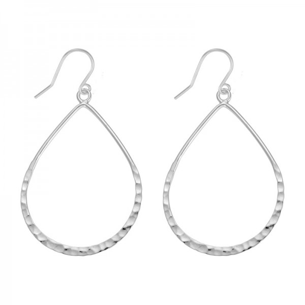 Silver Thin Hammered Teardrop Earrings