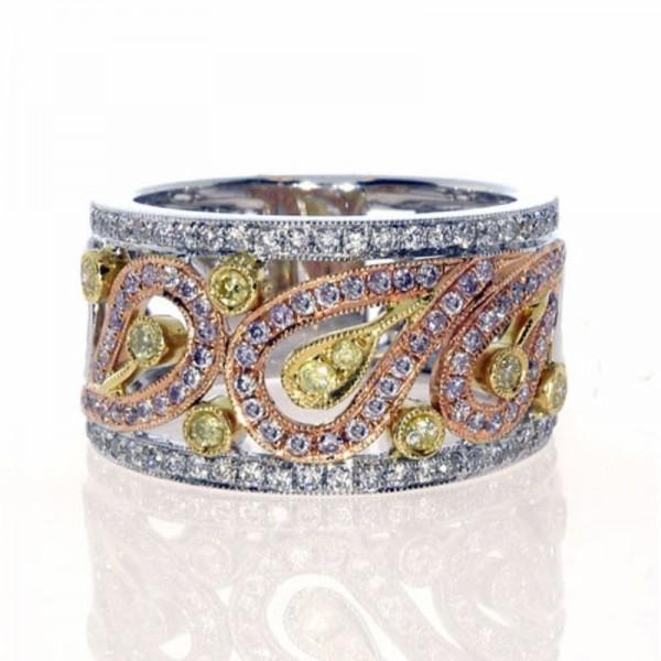 18K Tri-Tone Pink, Yellow & White Diamond Fashion Ring