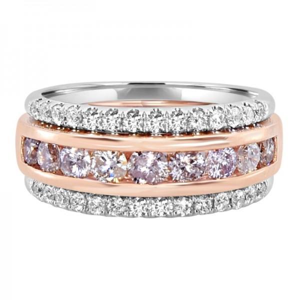 18K Two-Tone Pink & White Diamond Fashion Ring