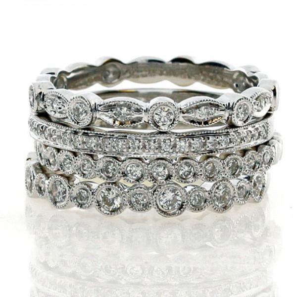 18KW Stackable Diamond Rings Set